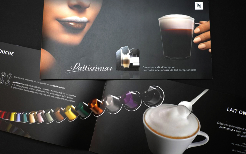 Création et fabrication de la brochure Lattissima + pour Nespresso.