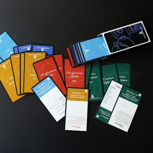 Jeu de cartes quizz pour l'animation des formations Nespresso Academy