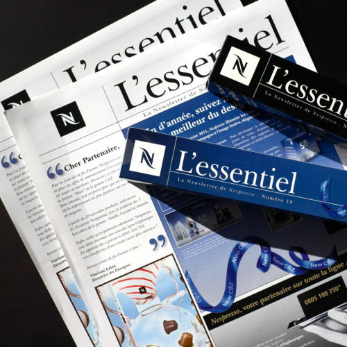 """Newsletter L'essentiel pour le réseaux commercial de vente Nespresso, Contenu de la page """"Agence de communication""""."""
