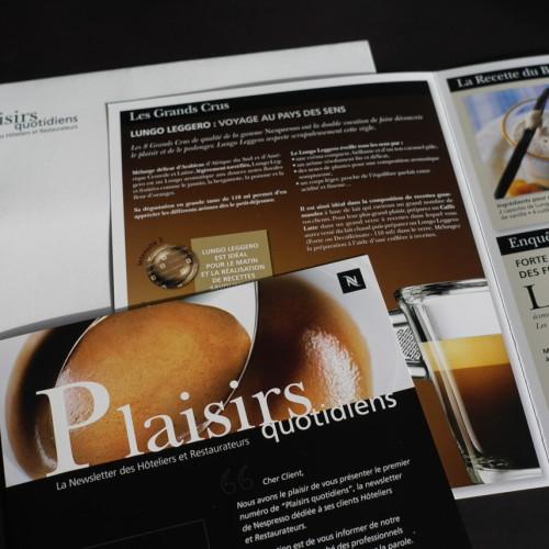 Création et fabrication de la newsletter Plaisirs Quotidiens pour Nespresso.