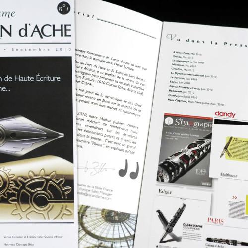 Création et fabrication de la newsletter La plume de Caran d'Ache.