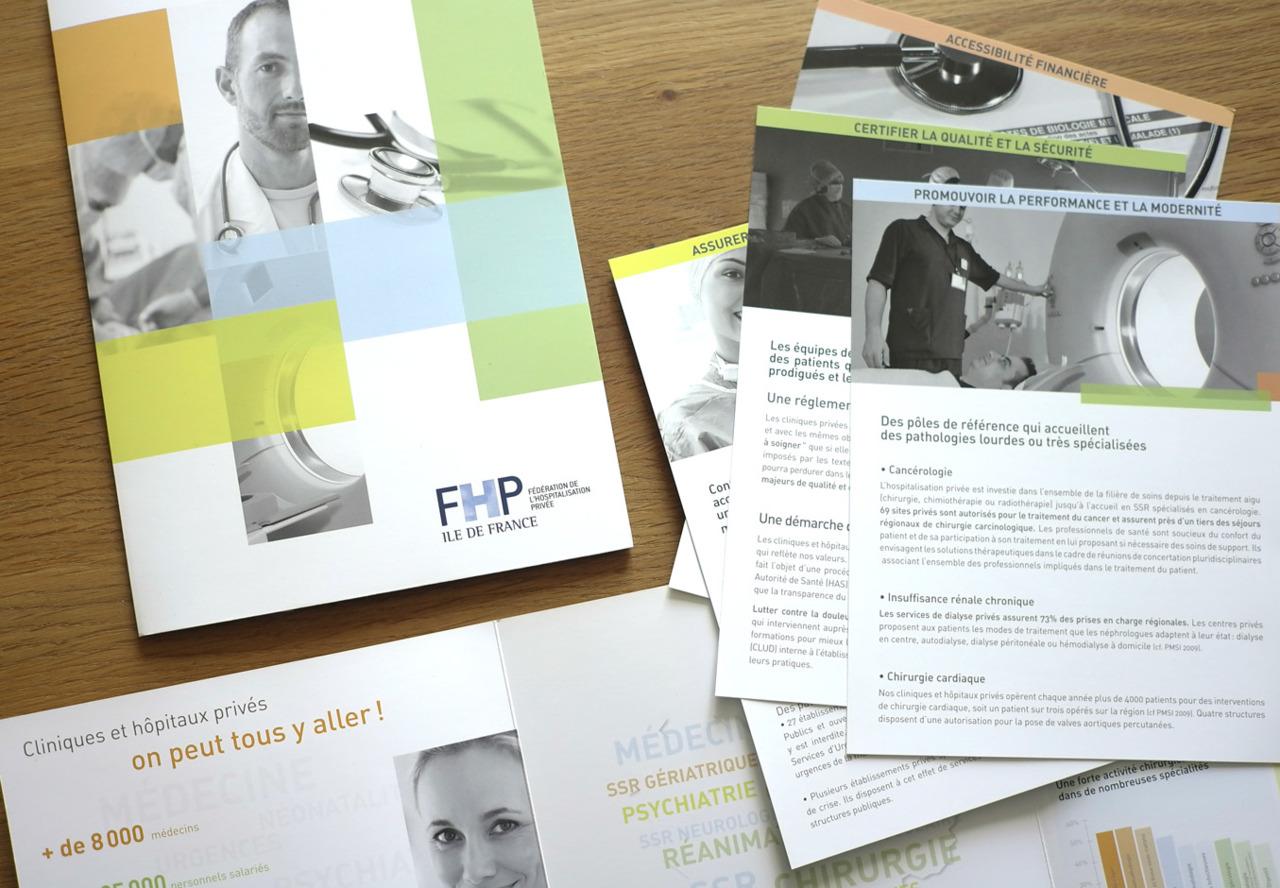 Création et fabrication de la plaquette FHP Ile de France.
