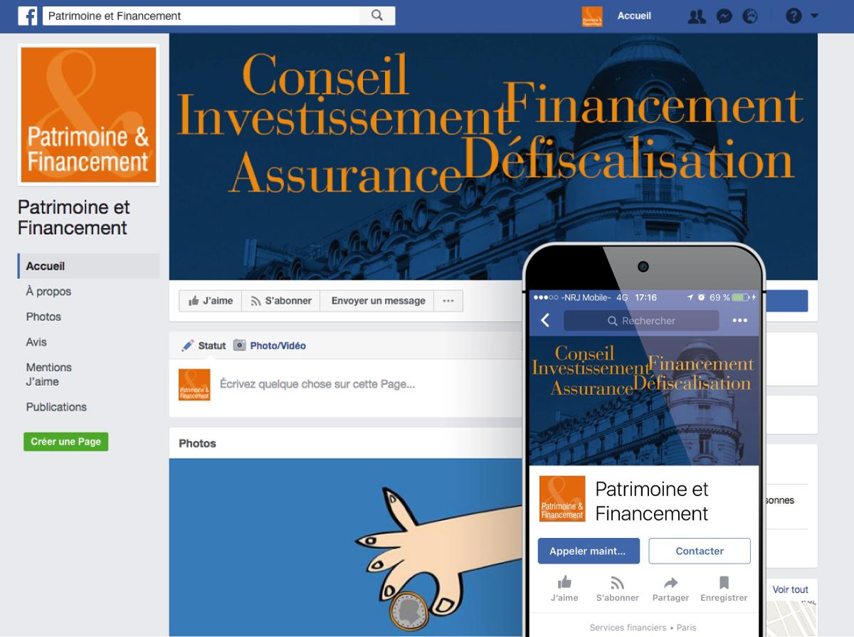 Image utilisée pour la page Community Management pour présenter le profil Facebook de Patrimoine et Financement