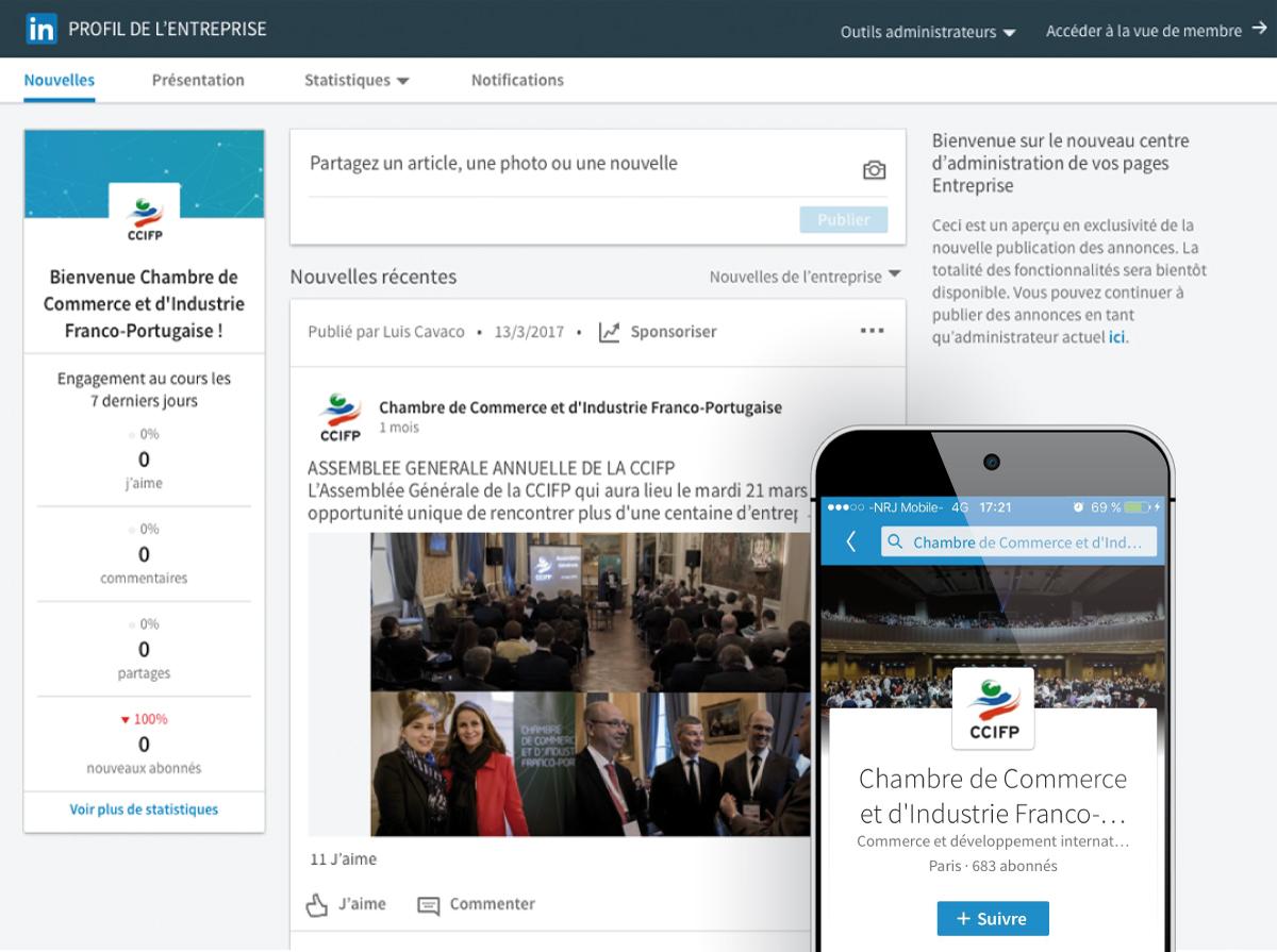 Image utilisée pour la page Community Management pour présenter le profil LinkedIn de la CCIFP